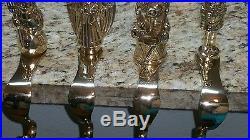 Vtg Solid Brass PEACE Christmas Stocking Mantle Hanger Hook