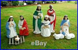 Vtg Tall 48 High Blow Mold Lighted Nativity Set Christmas Outdoor Yard Blowmold