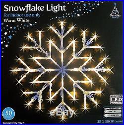 WARM WHITE SNOWFLAKE WINDOW LIGHT CHRISTMAS XMAS LED LIGHT New