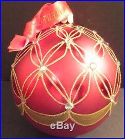 WATERFORD Holiday Heirlooms Ruby Wedge Ball Ornament New In Box