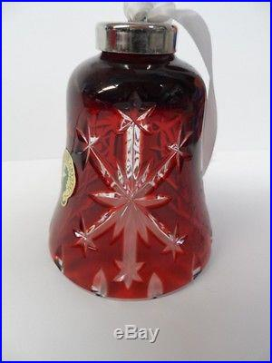 Waterford Ruby Red Cut Snow Crystal Snowflake Bell