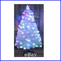WHITE RAINBOW LED FIBRE OPTIC CHRISTMAS TREE MULTI COLOURED 3ft 5ft 6ft XMAS