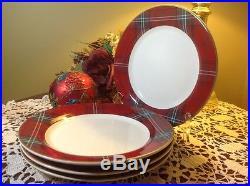 WILLIAMS SONOMA Tartan Plaid Set of (4) Dinner Plates NEW