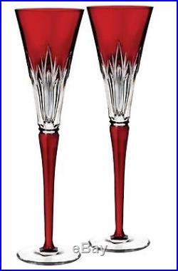 Waterford 2016 Times Square Ruby Flute Pair NIB