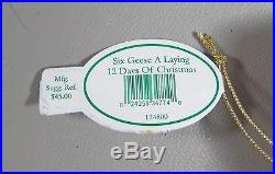 Waterford Holiday Heirloom 12 DAYS OF CHRISTMAS-SIX GEESE LAYING Ornament(s)MIB