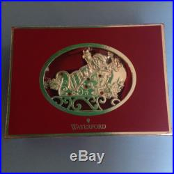 Waterford Santa Christmas Ornament Santa Sleigh Silver Tone #155534 New