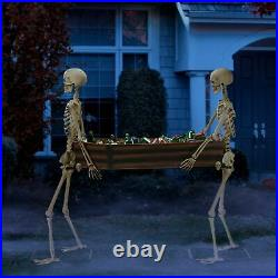 Way to Celebrate Halloween Skeleton Duo Carrying Coffin 5′ Fast Shipping
