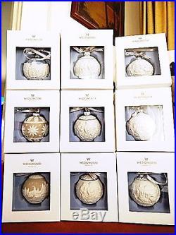 Wedgwood Jasperware Ornaments (9) Sleighride Night Before Christmas etc NEWithBOX