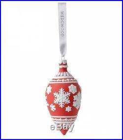 Wedgwood Red Snowflake Teardrop Porcelain Christmas Ornament New Tree Decoration