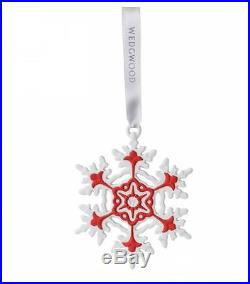 Wedgwood Red and White Snowflake Porcelain Christmas Ornament New Decoration
