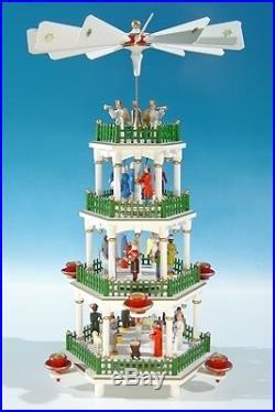 Weihnachtspyramide weiss, grüner Zaun / 4 Etagen Höhe ca 45 cm NEU Tischpyramide