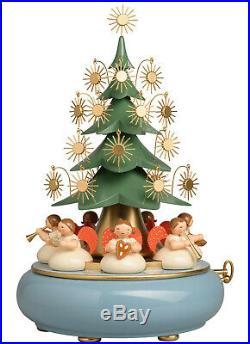 Wendt & Kühn Neu 2020 Spieldose mit unter dem Baum sitzenden Engeln stille Nacht