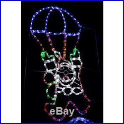 Werchristmas Pre-Lit Animated Santa Parachute Rope Light Silhouette, 183 Cm