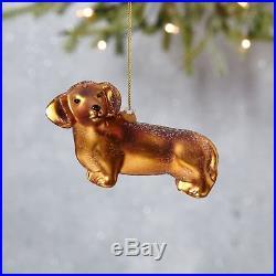 West Elm Glass Dog Dachshund Christmas Ornament NWT