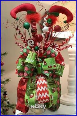 Whimsical Christmas Elf legs tree topper