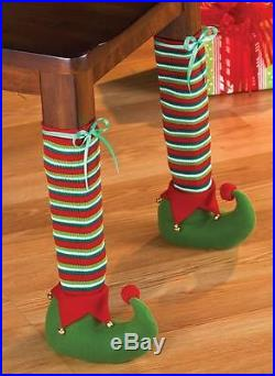 Whimsical Elf Chair Leg Covers Christmas Home Decor 2 Pc Set New