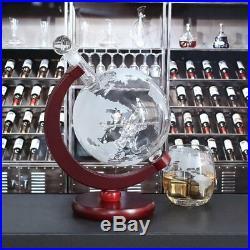Whiskey Liquor Decanter Set World Etched Globe Old Battle Plane Design 1500ml