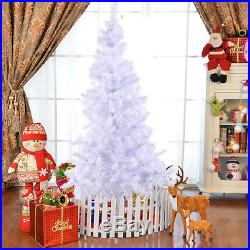 White 8 Ft Artificial PVC Christmas Tree withStand Holiday Season Indoor Outdoor