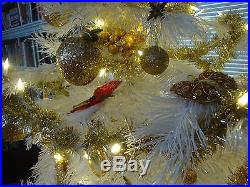 White Decorated Artificial Christmas Tree, Stand, LED Lights, Ornaments, Topper