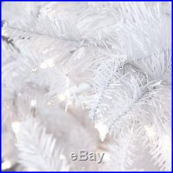 White Full 7.5' Pre-Lit Artificial Christmas Tree Home Living Room Holiday Decor