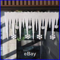 White Snowflake Ice Strip Christmas Xmas Decoration Ornament Festival Party 2pcs