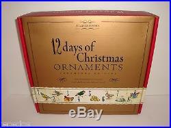 Williams-Sonoma 12 Days of Christmas Glass Ornament Set NIB Twelve