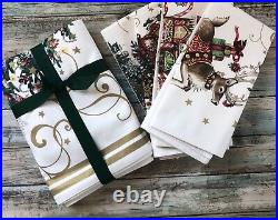 Williams Sonoma Twas The Night Before Christmas Table Runner & 4 Cloth Platemat