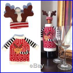 Wine Bottle Cover Xmas Santa Deer Table Decor Christmas Bottle Cap Party Gift