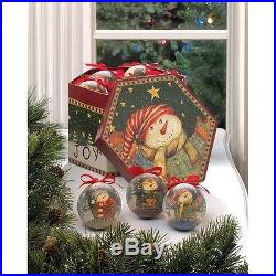 Winter Snowman Ornaments Set Vintage Plastic Ball Tree Decoration Christmas