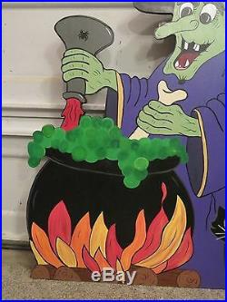 Witches Brew with Cauldron Wood Outdoor Halloween Lawn Ornament, Halloween Witch