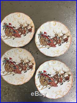 Wlliams sonoma Twas the night before Christmas Dinner plates, set 4, Santa+sleigh