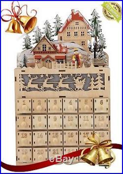 Wooden Advent Calendar-LED Light Up Festive Christmas Village I 2 DAYS SHIPPING