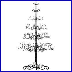 Wrought Iron Christmas Tree Ornament Display Stand All Holiday Season Metal Rod