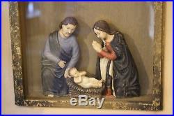 Wunderschönes Heiligenbild Kasten Krippe Krippenfiguren Maria Josef Jesus 51,5cm