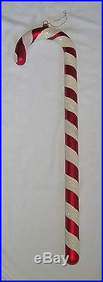 XL 2' Red & White Glitter Glass Candy Cane Christmas Tree Ornament 24 Holiday