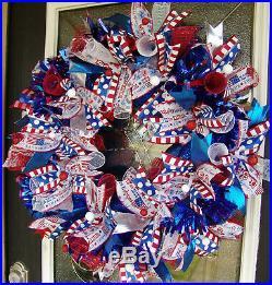 XL Patriotic 4th of July BLING Deco Mesh Front Door Wreath Summer Birthday Party