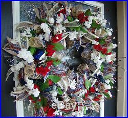 XL Summer Americana Patriotic Deco Mesh Door Wreath, Farmhouse Decor Decoration