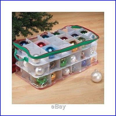 XMAS Ornament Storage Box w/ Handles Zippered Vinyl Bulb Organizer Holds 54 Tree