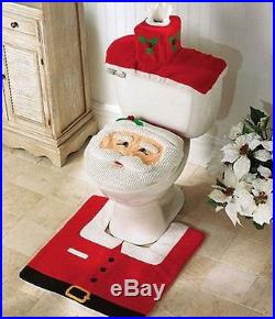 XMAS Santa Toilet Seat Cover + Rug Bathroom Set Christmas Decoration Gift