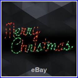 Xmas Merry Christmas Hanging Sign Outdoor LED Lighted Decoration Wireframe