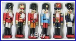 Xmas Nutcracker Set Holiday Ornaments Wooden Soldier 6 Pc Christmas Tree Decor