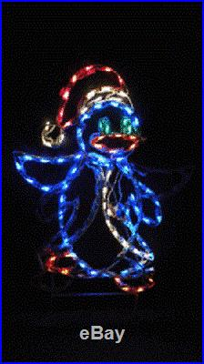 Xmas Penguin w Santa Hat Outdoor Holiday LED Lighted Decoration Steel Wireframe