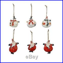 YK Decor 6 Assorted Christmas Wood and Resin Dancing Santa and Snowman Ornaments
